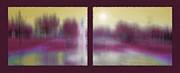 Sunshine Mixed Media Framed Prints - Fountain Dreamscape Diptych 3 Framed Print by Steve Ohlsen