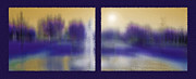 Sunshine Mixed Media Framed Prints - Fountain Dreamscape Diptych Framed Print by Steve Ohlsen