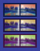 Sunshine Mixed Media Framed Prints - Fountain Dreamscape Hexaptych Framed Print by Steve Ohlsen
