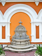 Church Yard Framed Prints - Fountain in Church Yard in Antigua Guatemala Framed Print by Douglas Barnett