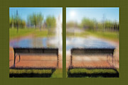 Park Benches Mixed Media - Fountain in City Park Diptych 2 by Steve Ohlsen