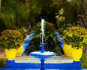 Color Yellow Posters - Fountain in Jardin Majorelle Morocco Poster by Bronze Riser