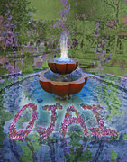 Mary Ogle Posters - Fountain in Ojai California Poster by Mary Ogle and Miki Klocke