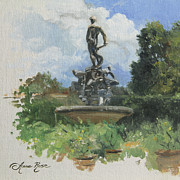 Garden Painting Originals - Fountain in the Boboli Gardens Florence by Anna Bain