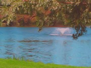 Digital Photograph Digital Art - Fountain in the Lake by Garry Staranchuk