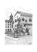 Views Drawings - Fountain of Neptune with King Enzo Palace by Luca Parmeggiani
