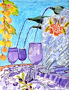 Wine Glasses Paintings - Fountain of wine and lifes calming drink by Connie Valasco