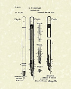 Stewart Framed Prints - Fountain Pen 1885 Patent Art Framed Print by Prior Art Design