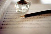 Pen Prints - Fountain Pen Atop Sheet Music Print by Nico De Pasquale Photography