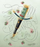 White Drawings - Fountain-Pen  by Kestutis Kasparavicius