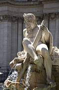 Historic Statue Prints - Fountain. Piazza Navona. Rome Print by Bernard Jaubert