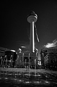 Liverpool Prints - Fountain Water Display In Williamson Square With The Playhouse And Radio City Tower Print by Joe Fox
