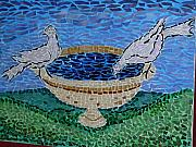 Art Glass Mosaic Glass Art - Fountain With Pigeon by Cristina Cassina