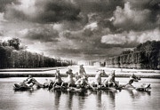Fountain Photograph Posters - Fountain with Sea Gods at the Palace of Versailles in Paris Poster by Simon Marsden