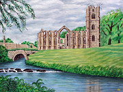 Ronald Haber Framed Prints - Fountains Abbey And River - Yorkshire Framed Print by Ronald Haber