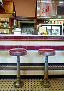 Stools Prints - Four Aces Diner Print by Edward Fielding