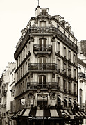 Paris In Sepia Framed Prints - Four Balconies in Paris Framed Print by John Rizzuto