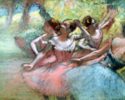 Ballet Dancers Posters - Four ballerinas on the stage Poster by Edgar Degas