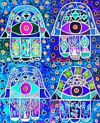 Invitations Digital Art Framed Prints - Four Blue Hamsa Framed Print by Sandra Silberzweig
