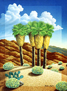 Modern Acrylic Paintings - Four Bunch Palms by Snake Jagger