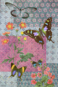 Quilt Posters - Four Butterfly Patch Blue Poster by JQ Licensing