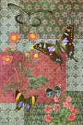 Quilt Posters - Four Butterfly Patch Green Poster by JQ Licensing