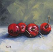 Cherries Paintings - Four Cherries by Torrie Smiley