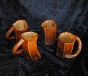 Glazed Pottery Ceramics - Four Cool Crooked Cups by John Johnson
