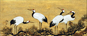 Cranes Mixed Media Prints - Four Cranes Print by Masako Van Leijenhorst