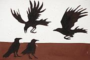 Sacred Painting Originals - Four Crows by Sophy White