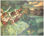 Dancer Art Pastels Prints - Four Dancers Print by Edgar Degas