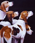 Hunt Metal Prints - Four Fox Hounds Metal Print by Janet  Crawford