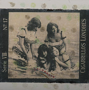 Antique Mixed Media Originals - Four Girls celebrate by Roberta Rose