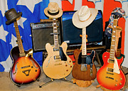 Instruments Digital Art Originals - Four Guitars and Amps by Danny Jones
