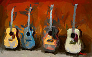 Vincent Dinovici Art - Four Guitars TNM by Vincent DiNovici