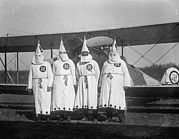Swastika Posters - Four Hooded Ku Klux Klan Members Pose Poster by Everett