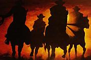 Cow Boy Paintings - Four Horesman by Lelia DeMello