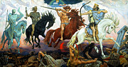 Horsemen Framed Prints - Four Horsemen of the Apocalypse Framed Print by Victor Vasnetsov