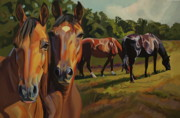 Impressionistic Horse Paintings - Four Horses by L V Fry