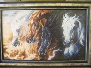 Picture Tapestries - Textiles Originals - Four Horses Of The Apocalypse by Veselina Simeonova