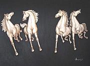 Oil  Etc. Paintings - Four Horses by Ram Prakash