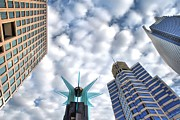High Rise Buildings Framed Prints - Four In The Sky Framed Print by Kenneth Mucke