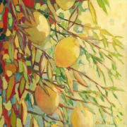 Yellow Leaves Painting Prints - Four Lemons Print by Jennifer Lommers