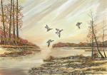 Mallards Paintings - Four Mallards Over Autumn Lake by Samuel Showman