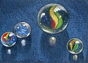 Glass Drawings - Four Marbles by Joyce Geleynse