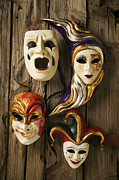 Theater Masks Posters - Four masks Poster by Garry Gay