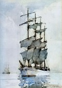Sailing Ship Paintings - Four Masted Barque by Pg Reproductions