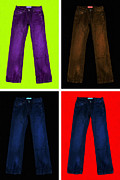 Blue Jeans Posters - Four Pairs of Blue Jeans - Painterly Poster by Wingsdomain Art and Photography