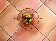 Salmon Digital Art Originals - Four Pears In A Bowl On Tile by Lucyna A M Green