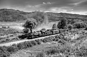 Steam Train Prints Art - Four Percent Grade Part 2 Black and White by Ken Smith